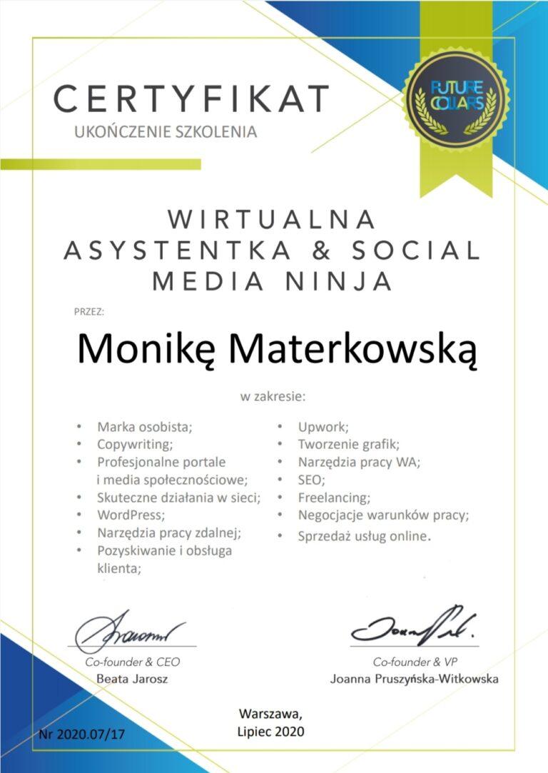 certyfikat-Monika Materkowska Wirtualna Asystentka